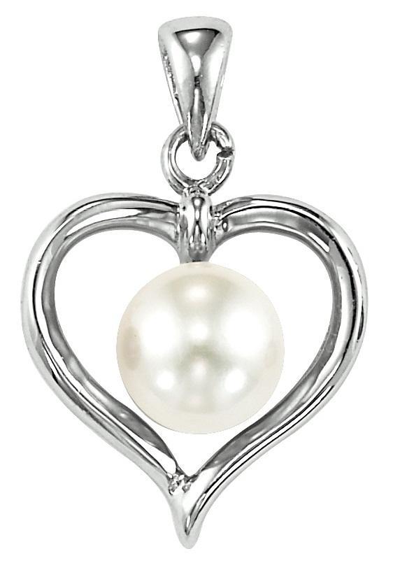 Freshwater Pearl Heart Pendant in Sterling Silver   /096PW