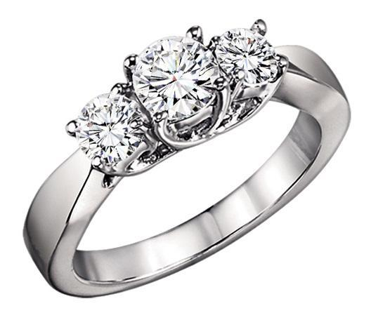 1 ctw Three Stone Diamond Ring in 14K White Gold/3C358LW