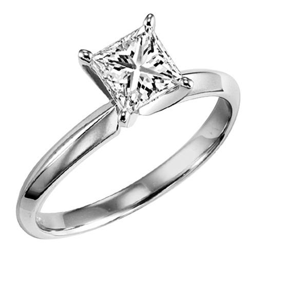1.00 ct Princess Cut Diamond Solitaire Engagement Ring in 14K White Gold
