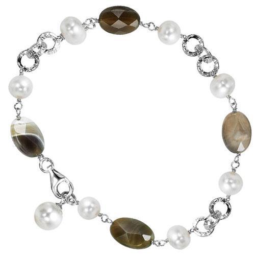 Silver Pearl Agate Bracelet/586B01