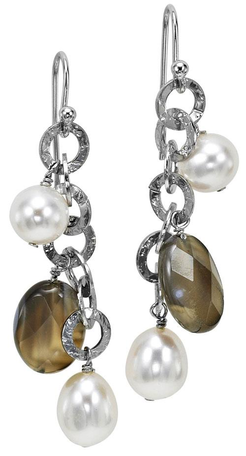 Silver Pearl Agate Earrings/586E01