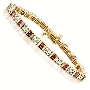 14K Gold Diamond & Ruby Breacelet:B100RYC