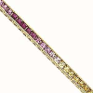 14K  Diamond & Multi Color Sapphire Bracelet / B130MULTI5