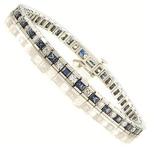 14K Gold Diamond & Sapphire Breacelet:B130SWC