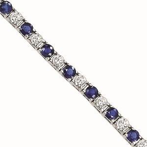 14K Gold Diamond & Sapphire Bracelet:B131WSC-5ct