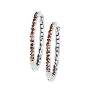 Silver Brown Diamond Earrings 1/4 ctw / FE1120
