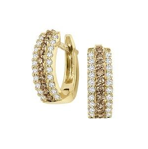 1/2 ctw Brown & White Diamond Earrings in 14K Yellow Gold /FE1134