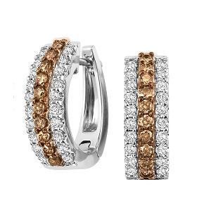 1 ctw Brown & White Diamond Earrings in 14K White Gold / FE1135