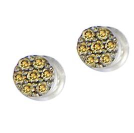 1/10 ctw Brown & White Diamond Earrings in 10K White Gold / FE1138