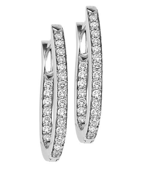 Silver Diamond Earrings 1 ctw/ FE1176