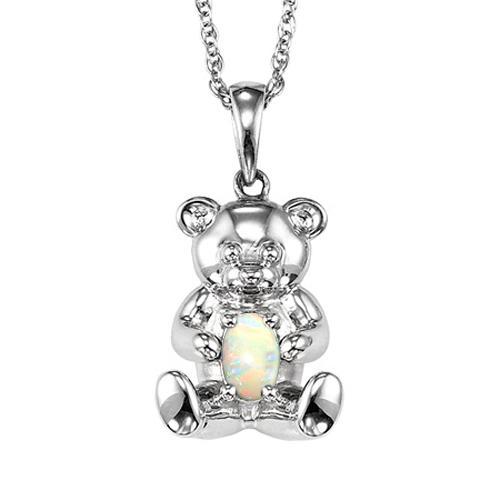 Silver Opal Birthstone Pendant
