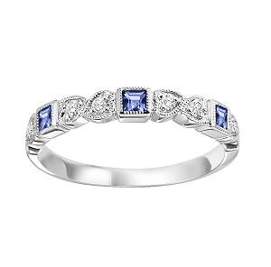 Sapphire & Diamond Ring in 10K White Gold /FR1029
