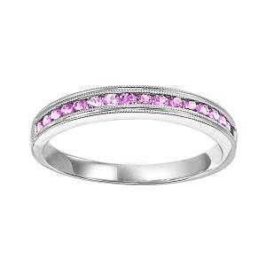 Pink Sapphire & Diamond Ring in 10K White Gold /FR1031