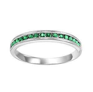 Emerald & Diamond Ring in 10K White Gold / FR1033