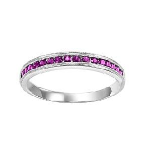 Ruby & Diamond Ring in 10K White Gold / FR1034