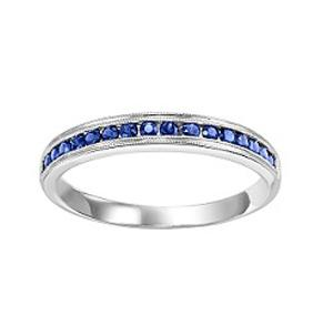Sapphire & Diamond Ring in 10K White Gold / FR1035