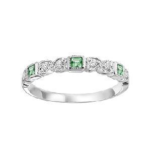 Emerald & Diamond Ring in 10K White Gold/FR1036