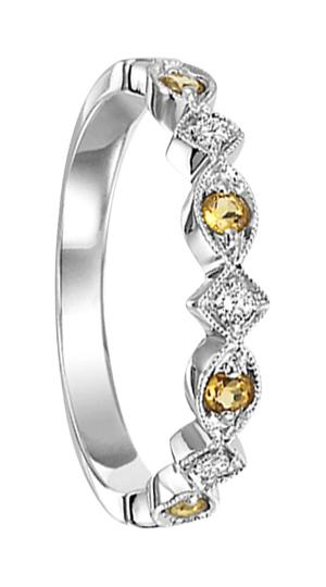 Citrine & Diamond Ring in 14K White Gold / FR1240