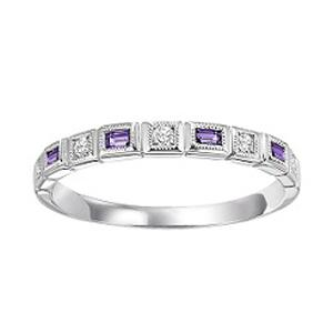 Amethyst & Diamond Ring in 14K White Gold / FR1226
