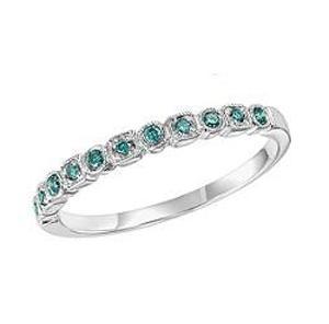Blue Diamond Ring in 10K White Gold / FR1309