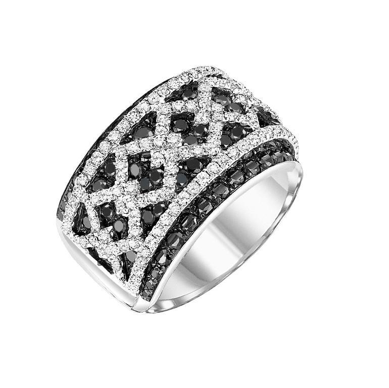 14K Black & White Diamond Ring 3 ctw / FR1351