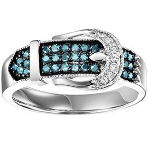 Silver  Blue Diamond Band 1/3 ctw / FR1382