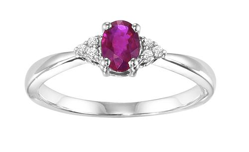 Ruby & Diamond Ring in 10K White Gold /FR4025