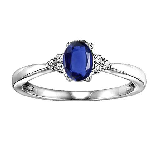 Sapphire & Diamond Ring in 10K White Gold/FR4027-10