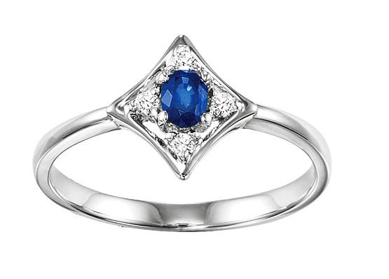 Sapphire & Diamond Ring in 14K White Gold /FR4031