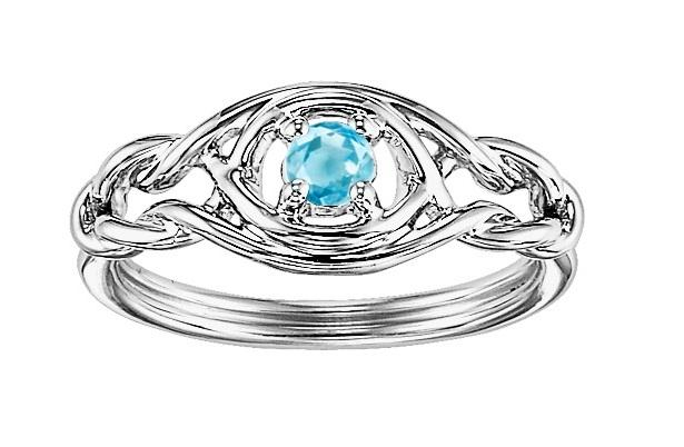 Blue Topaz Ring in Sterling Silver /FR4053B