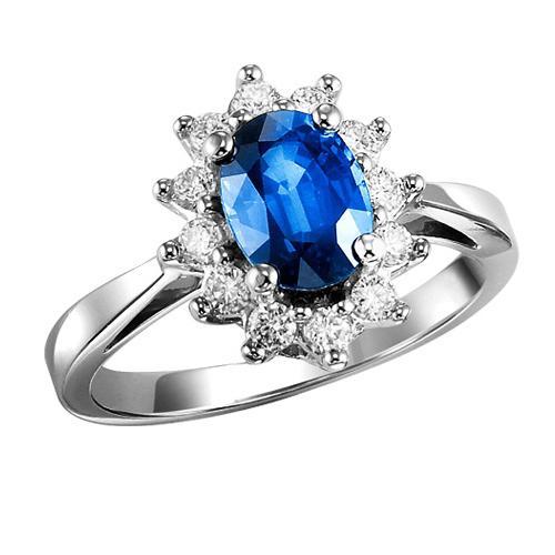 Sapphire & Diamond Ring in 10K White Gold /FR4077