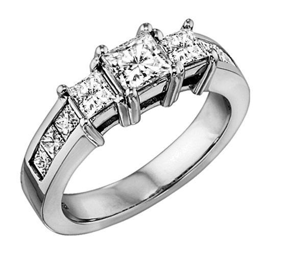 1 1/2 ctw Three Stone Plus Diamond Ring in 14K White Gold/HDR1329LW