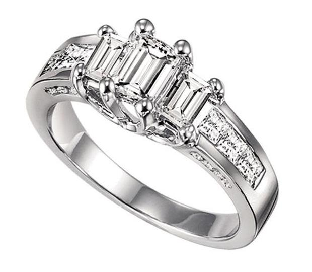 1 ctw Three Stone Plus Diamond Ring in 14K White Gold/HDR1332LW