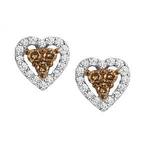 1/3 ctw Brown & White Diamond Earrings in 10K White Gold / NE280