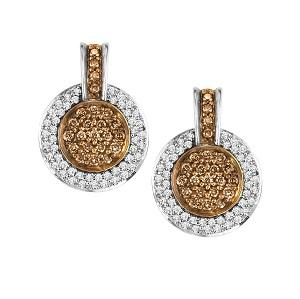 3/4 ctw Brown & White Diamond Earrings in 14K White Gold / NE283-10P