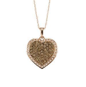 14K White Gold White & Brown Diamond Heart Pendant:NP653W