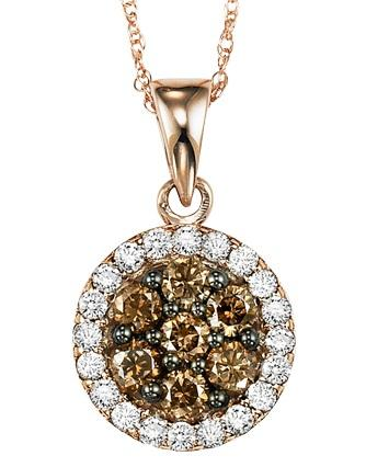 Pink Gold Brown and white Diamond Pendant 3/4 ctw:NP668P