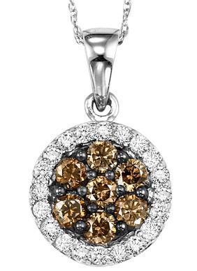 White Gold Brown and white Diamond Pendant 1/2 ctw:NP695W