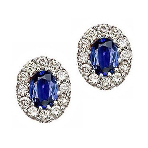 Sapphire & Diamond Earring set in 14K Gold