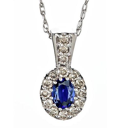 Sapphire & Diamond  Pendant set in 14K Gold