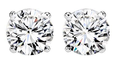 1 ctw Diamond Solitaire Earrings in 14K White Gold / SE3100FW
