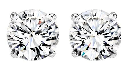 1 1/2 ctw Diamond Solitaire Earrings in 14K White Gold / SE6140LW