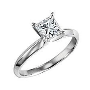3/4 ct Princess Cut Diamond Solitaire Engagement Ring in 14K White Gold /SRBFP70