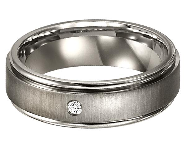 Men's Diamond Ring in Titanium/TI1002
