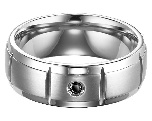 Men's Black Diamond Ring in Stainless Steel/TS1044