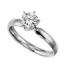 1/2 ct Round Cut Diamond Solitaire Engagement Ring in 14K White Gold /5619E