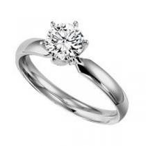 1 ct Round Ideal Cut Diamond Solitaire Engagement Ring in 14K White Gold /5633ET