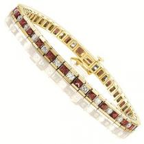 14K Gold Diamond & Ruby Breacelet:B130RYC