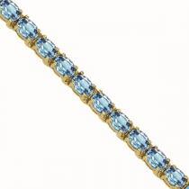 14K Gold & Blue Topaz Bracelet : B193WB6x4