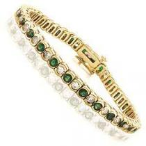 14K Gold Diamond & Emerald Breacelet:B209EYC7